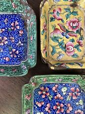 3 Antique Chinese Canton Tray Dishes