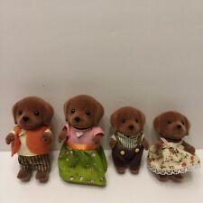 Epoch Calico Critters Woodzeez Puppy Family 4 Posable Figures Dog Flocked