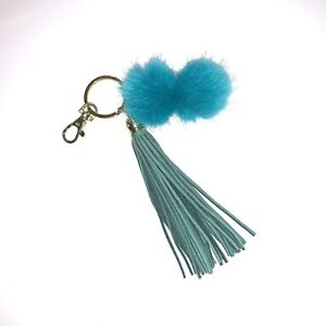 Keychain Fuzzy Blue Leather And Gold Fur Ball PomPom Key Ring With Clip Closure