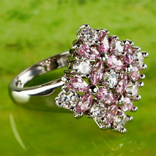 Gift Round & Marquise Cut Pink Topaz Gemstone Silver Ring Size 10 Free Shipping