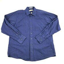 Michael Kors Mens Blue Striped Collared Button Front Dress Shirt 17.5 XL