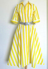 "The Notebook Dress Swing Maxi Short Sleeve 100% Cotton Yellow/White Size 12(30"")"
