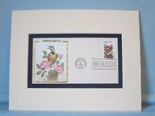 State Bird & Flower - North Dakota - Meadowlark & Prairie Rose & First Day Cover