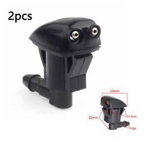 2* Car Front Windshield Washer Wiper Spray Nozzle Set Black Universal
