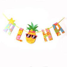 Summer Aloha Hawaiian Tropical Pineapple Garland Bunting Party Home Banners IU
