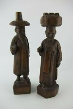 "Vintage Korean Korea Wood Wooden Couple Statue, Man and Woman, 8"" Tall"