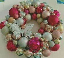 "Pink, Gold and Silver 22"" Christmas Ornament Wreath Hand Made"