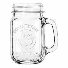 Mason Jar Drinking Glass Mug w Handle 16.5 Oz Clear Country Style Set of 12