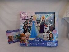 Disney Frozen Sparkling Paper Dolls Elsa Anna Magnetic Fashions +  Mini Jewelry