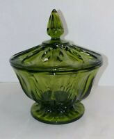 VINTAGE Green Glass Lidded Candy Dish / Footed Bowl