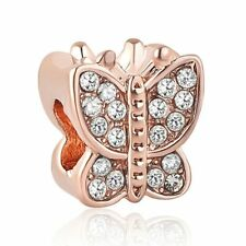 NEW Rose Gold Colour Butterfly Insect Crystal Charm Sparkly Spacer Bead Pendant
