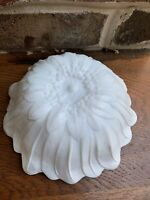 """Vintage Milk Glass Bowl Daisy Flower Embossed White Candy Dish 3"""" High 7.5"""" Dia."""