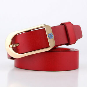 Womens Cowhide Leather Belts Vintage Rhinestone Decorated Trousers Waist Strap