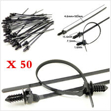 50PCS Black Nylon Cable Tie Fastener Clips Car Wiring Fastening Zip Strap Kits