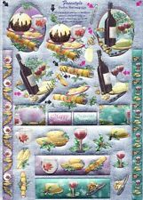 3D Die cut Sheet Dufex Decoupage Christmas Food Drink Pudding  NEW