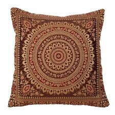 Dark Brown Mandala Cushion Covers Antique Style Banarasi Indian 38cm
