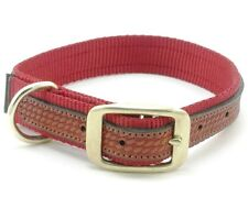 "WEAVER Traditions West Nylon Dog Collar, Brown Leather Overlay, 17"" x 1"", Red"