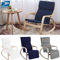 Rocking Relax Lounge Chair Rocker Adjustable Footrest Home w/ Pillow Armchair US