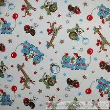 BonEful FABRIC Cotton Quilt White Blue Red Old World Circus Baby Animal 99 SCRAP