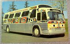 Postcard AMERICAN SIGHTSEEING ALASKA GMC BUS Native Art vintage Fairbanks USA