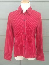 Talbots Women's Shirt Sz 14 Fitted Blouse Red Striped Button Front 100% Cotton