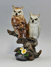 Group of figurines coloured Owls - Pair Resin Plastic new 9977294
