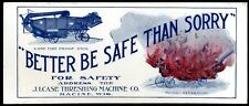 CA 1910 J.I. CASE THRESHING MACHINE CO ADVERTISING INK BLOTTER