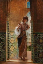 """perfect oil painting handpainted on canvas""""Oriental beauty by a window""""@9376"""