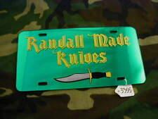 """RANDALL KNIVES LICENSE PLATE, GREEN, """"RANDALL MADE KNIVES""""    #3355"""