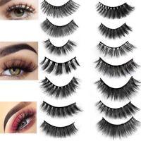 Pack of 5 3D Mink False Eyelashes Wispy Cross Long Thick Soft Fake Eye Lashes UK