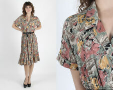 Vintage 80s Floral Party Dress Menswear Wrap Pleated Secretary Party Midi Mini S