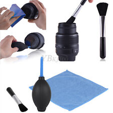 3 in 1 Lens Cleaning Cleaner Set DSLR Camera Dust Brush Blower Wiper Cloth Kit