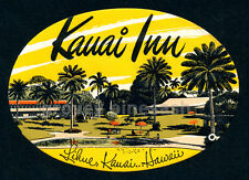 Rare Vintage Kauai Inn Lihue Hawaii Luggage Decal Sticker Label Hawaiiana