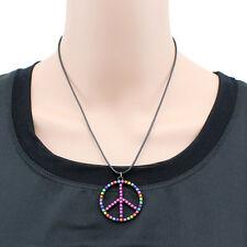 Bunte Halskette Peace Peacezeichen Kette Anhänger Schwarz Perlen Bunt NEU 1509