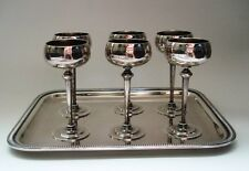 Antique Set of 6 French Silver Plate Sherry Cordial Goblet Long Stem And Tray