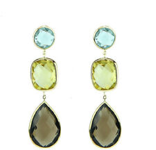 14K Yellow Gold Earrings With Blue, Lemon and Smoky Topaz Gemstones