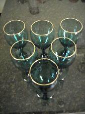 6 Vtg Libbey Emerald Green Blown Stemmed Wine Water Goblet Glasses w Gold Rim