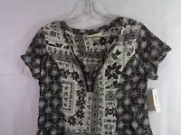 Style & Co Women's Black White Mixed Print Tunic Peasant Top Size Small NWT