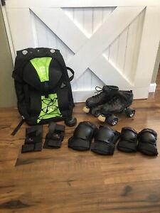 Riedell Warrior Speed Skates, Leather Roller Skates, Men's size 8 Skate Package