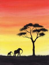 SARAH FEATHERSTONE, ORIGINAL LANDSCAPE WATERCOLOUR PAINTING, Africa, Elephants