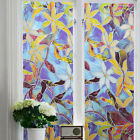 Stained Magnolia Glass Window Film Privacy Static Cling Decorative Covering  .