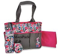 Minnie Mouse Diaper Bag + Bottle & Pacifier Holder Tote Pink Gray Gift Set