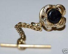 Wow Nice Vintage Flower Clover Golden & Black 1960s Tie Tack Clasp Rare