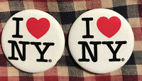"Collectible Pinback Button Set of 2  ""I Love NY"" Heart 1 1/4""d Made in USA"