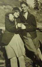 Bonnie and Clyde type- 1920s 30s photo girl w gun flapper car auto