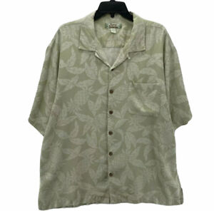 TOMMY BAHAMA Men's Short Sleeve Button Front Shirt Size XL Silk Olive Floral