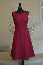 LAURA ASHLEY Womens Dress Occasion Crimson Red Lace Layered Sz. UK 12 - EU 38