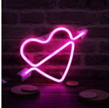 Heart w/ Arrow Led Sign Usb or Battery Light Shop Wedding Romantic Decor Lamp