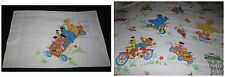 VINTAGE Sesame Street Flat SHEET + PILLOWCASE Set Vehicle Ernie Bert Oscar Bird