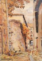 E. Bouillière( 1900-1991). Rue de village. Aquarelle/papier v178